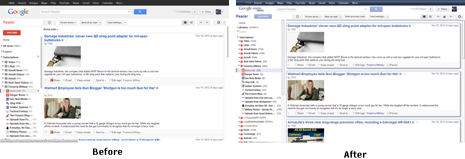 Google Reader Sanity Before and After