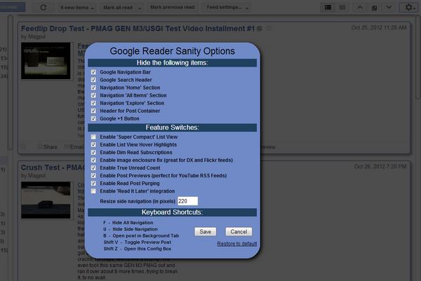 Google Reader Sanity Config