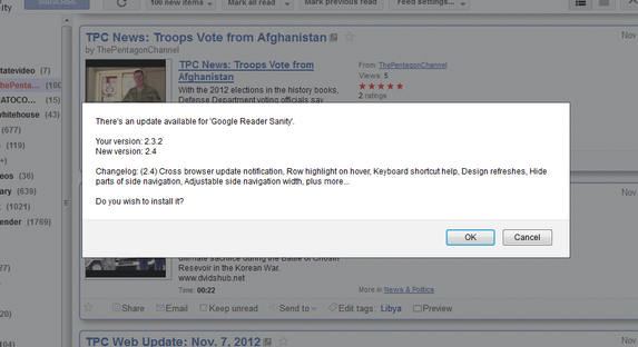 Google Reader Sanity Updater